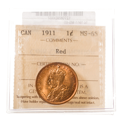1 cent 1911  ICCS MS-65