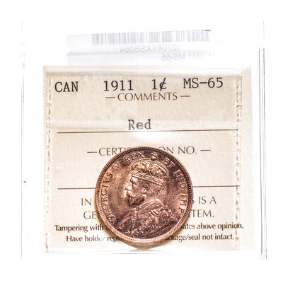 1 cent 1911 Red ICCS MS-65