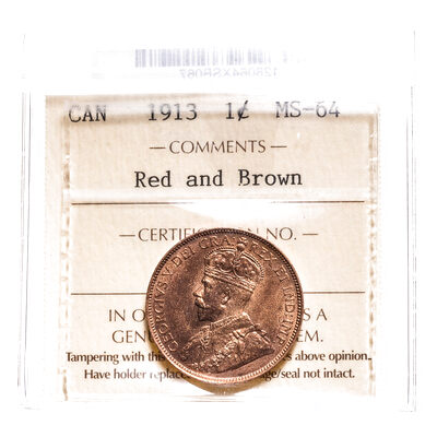 1 cent 1913 Red and Brown ICCS MS-64