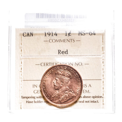 1 cent 1914 ICCS Red MS-64