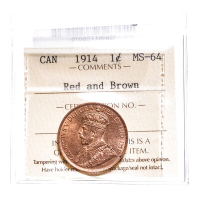 1 cent 1914 ICCS Red and Brown MS-64