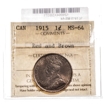 1 cent 1915 Red and Brown ICCS MS-64