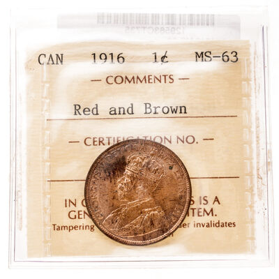 1 cent 1916 Red and Brown ICCS MS-63