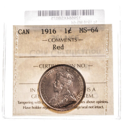 1 cent 1916 Red ICCS MS-64