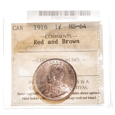 1 cent 1916 Red and Brown ICCS MS-64