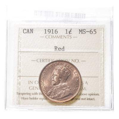 1 cent 1916 Red ICCS MS-65