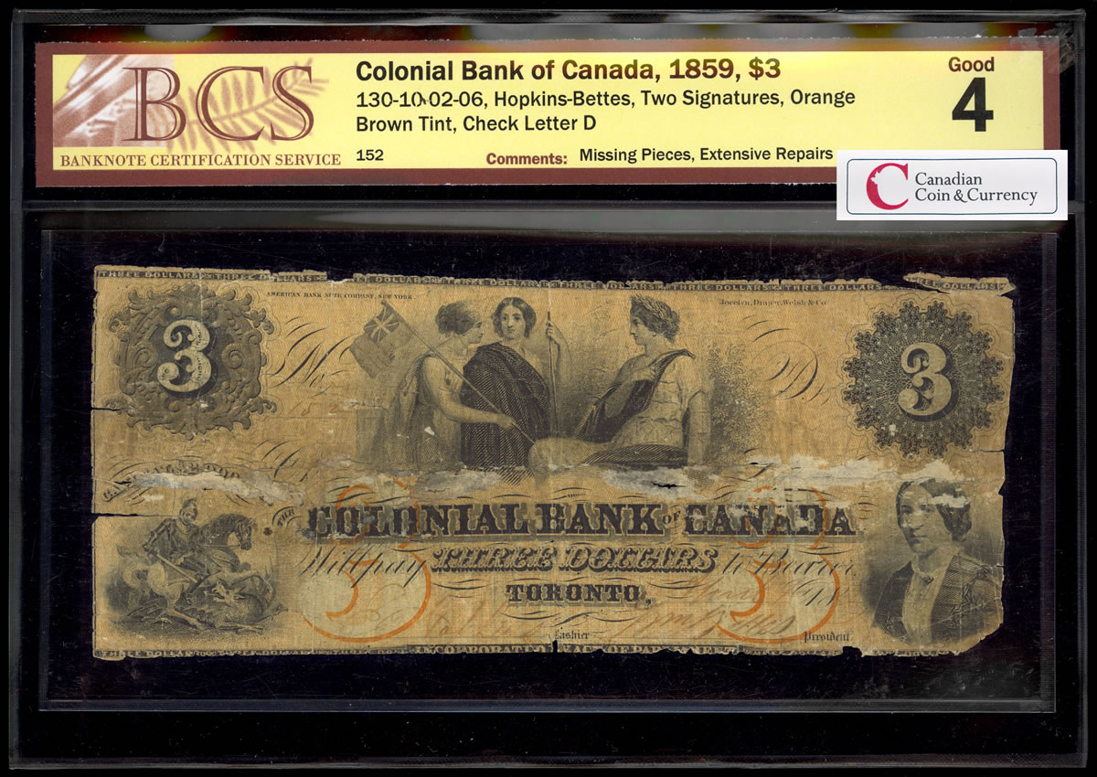 The Colonial Bank Of Canada 3 1859 Two Signatures Bcs G 4