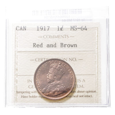1 cent 1917 Red and Brown ICCS MS-64