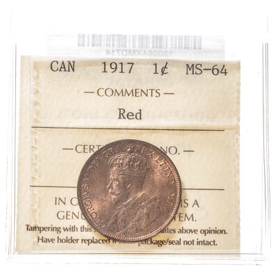 1 cent 1917 Red ICCS MS-64