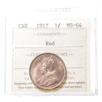 1 cent 1917  ICCS MS-64