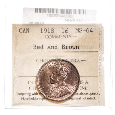 1 cent 1918 Red and Brown ICCS MS-64