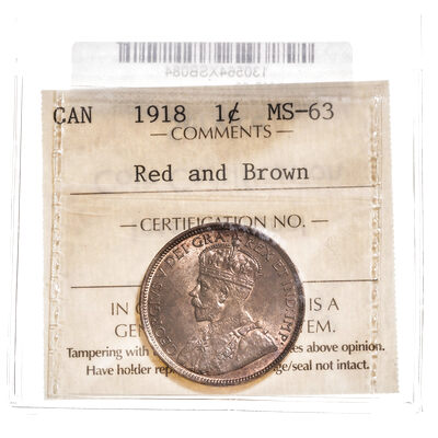 1 cent 1918 Red and Brown ICCS MS-63