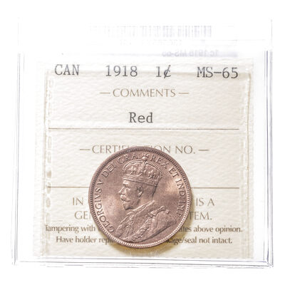 1 cent 1918 Red ICCS MS-65