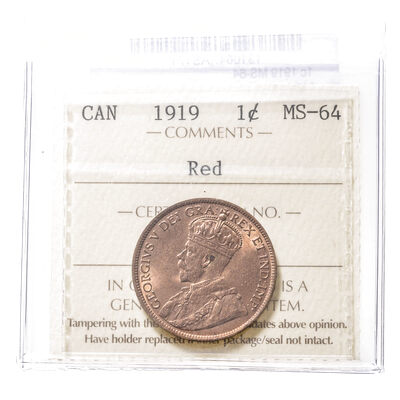 1 cent 1919 Red ICCS MS-64