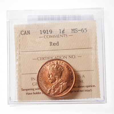 1 cent 1919 Red ICCS MS-65