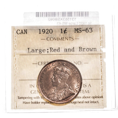 1 cent 1920 Large; Red and Brown ICCS MS-63