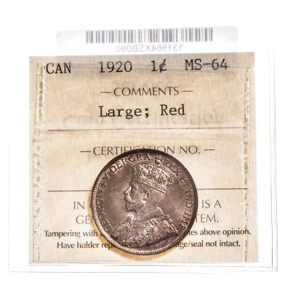 1 cent 1920 Large; Red ICCS MS-64