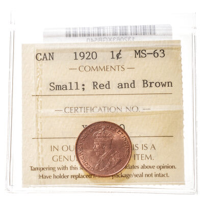1 cent 1920 Small; Red and Brown ICCS MS-63