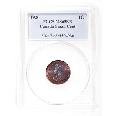1 cent 1920 Small; Red and Brown PCGS MS-65