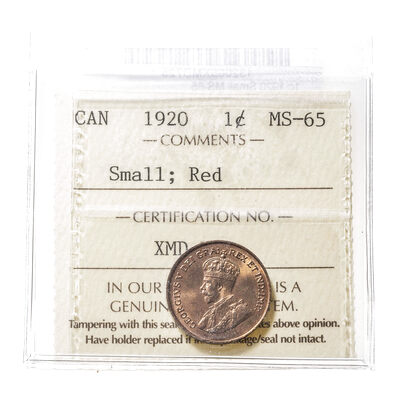 1 cent 1920 Small ICCS MS-65
