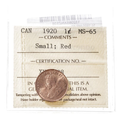 1 cent 1920  ICCS MS-65