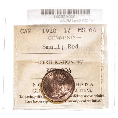 1 cent 1920 Small; Red ICCS MS-64