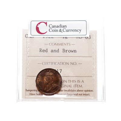 1 cent 1922 Red and Brown ICCS MS-63