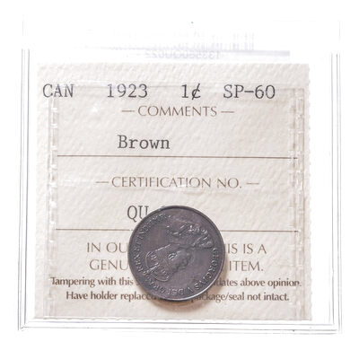 1 cent 1923 Brown ICCS SP-60