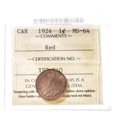 1 cent 1924 Red ICCS MS-64