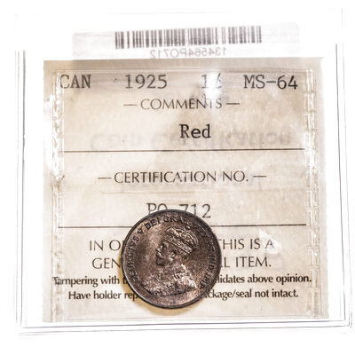 1 cent 1925 Red ICCS MS-64