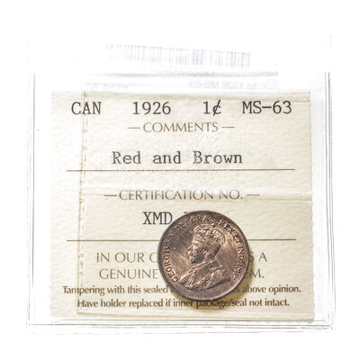 1 cent 1926  ICCS MS-63