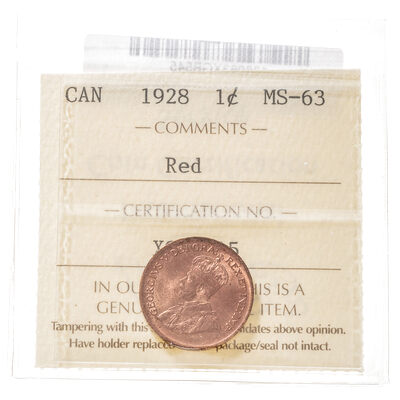 1 cent 1928 Red ICCS MS-63