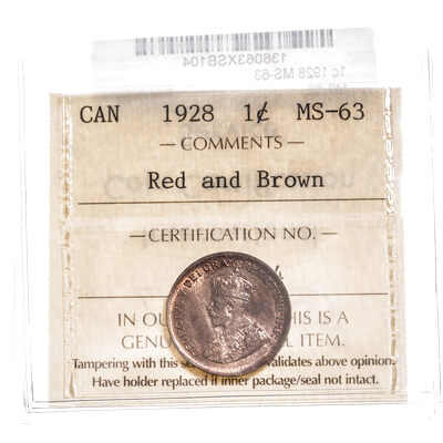 1 cent 1928 Red and Brown ICCS MS-63