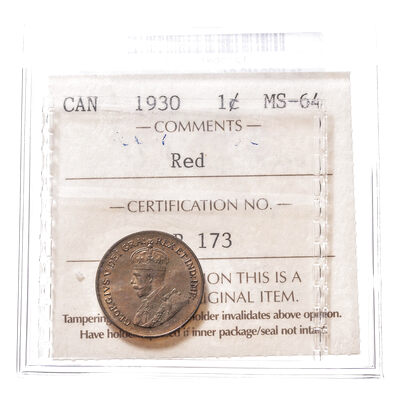 1 cent 1930 Red ICCS MS-64