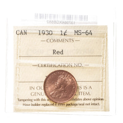 1 cent 1930  ICCS MS-64