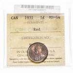 1 cent 1931 Red ICCS MS-64