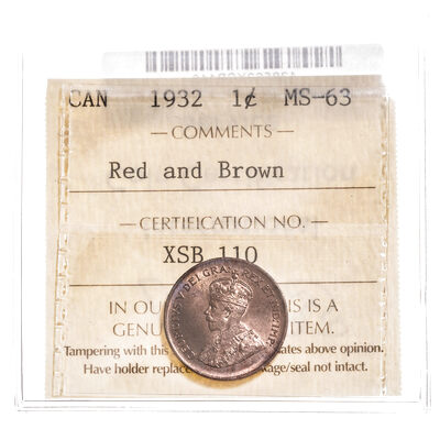 1 cent 1932 Red and Brown ICCS MS-63