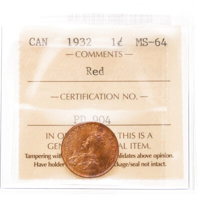 1 cent 1932 Red ICCS MS-64