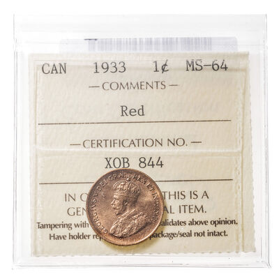 1 cent 1933 Red ICCS MS-64