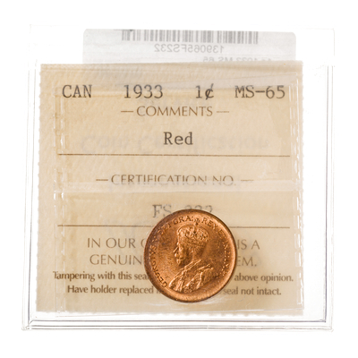 1 cent 1933 Red ICCS MS-65