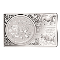 Australia 2019 5 Dollar Fine Silver Proof Coin - Year of the Pig Coin Bar Set with Privy Mark