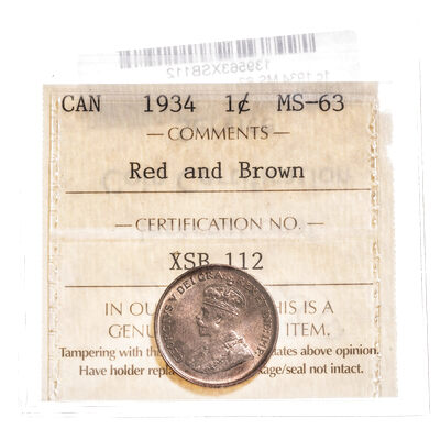1 cent 1934 Red and Brown ICCS MS-63
