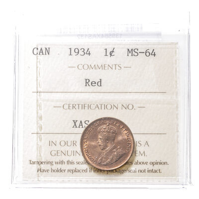 1 cent 1934 Red ICCS MS-64