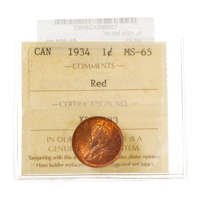 1 cent 1934  ICCS MS-65