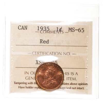 1 cent 1935 Red ICCS MS-65