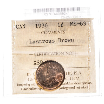 1 cent 1936 Lustrous Brown ICCS MS-63