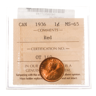 1 cent 1936 Red ICCS MS-65