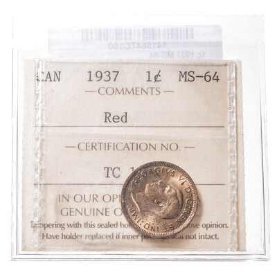 1 cent 1937  ICCS MS-64