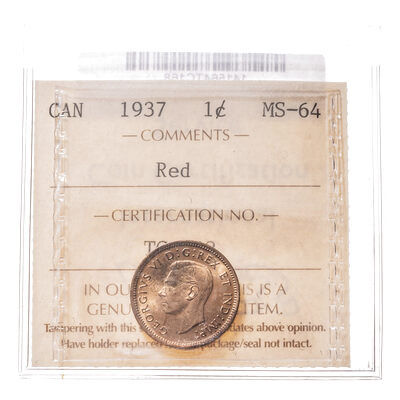 1 cent 1937 Red ICCS MS-64