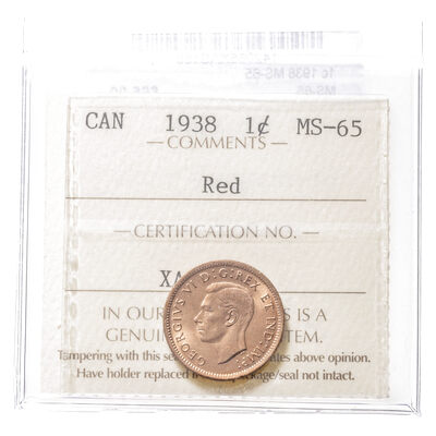 1 cent 1938  ICCS MS-65